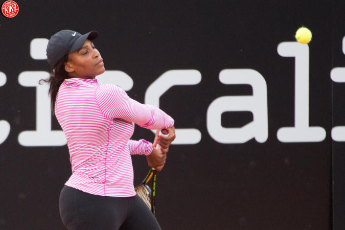 Serena Williams al primo allenamento romano